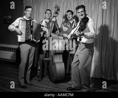1950s FOUR-PIECE BAND WITH ACCORDION STAND-UP BASS GUITAR & FIDDLE - Stock Photo