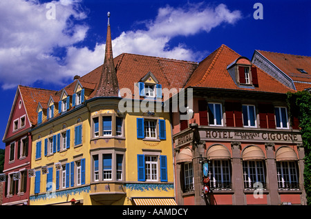 MUNSTER HAUTE RHIN FRANCE STORK HOTEL IN TOWN CENTER - Stock Photo