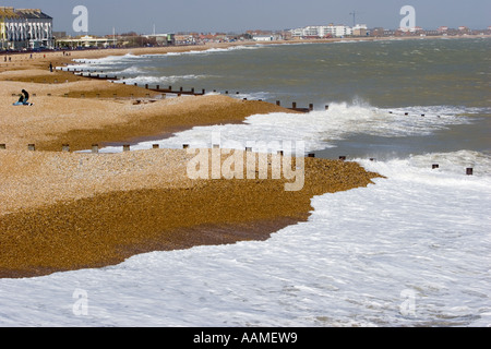 The beach at Eastbourne as seen from the pier - Stock Photo