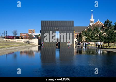 OKLAHOMA CITY OK OKLAHOMA CITY NATIONAL MEMORIAL REFLECTING POOL AND GATE OF TIME - Stock Photo