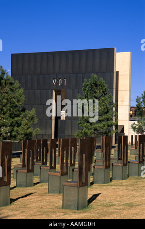 OKLAHOMA CITY OK OKLAHOMA CITY NATIONAL MEMORIAL FIELD OF EMPTY CHAIRS AND GATE OF TIME - Stock Photo