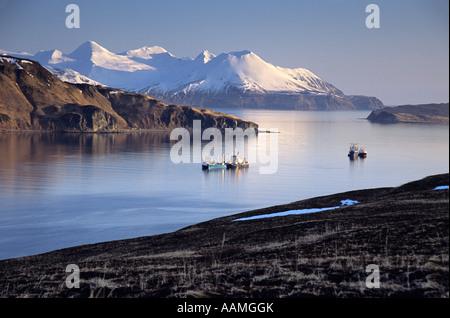 SHIPS CAPTAINS BAY ALEUTIAN ISLANDS BERING SEA UNALASKA ALASKA - Stock Photo