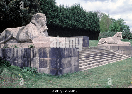 Two of the stone sphinxes that once guarded the steps leading up to the Crystal Palace in south London. - Stock Photo