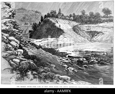 ILLUSTRATION MAY 31 1889 BURST EARTHEN DAM THAT CAUSED THE JOHNSTOWN FLOOD DISASTER PENNSYLVANIA - Stock Photo