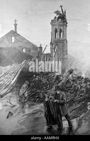 ILLUSTRATION MAY 31 1889 AFTERMATH RUINS OF JOHNSTOWN FLOOD PENNSYLVANIA FLOODS DISASTER DISASTERS TRAGEDY - Stock Photo