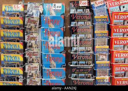 Travel guides for sale in Verona, Italy - Stock Photo