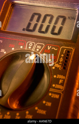 LCD DISPLAY ON DIGITAL ELECTRONIC MULTIMETER - Stock Photo