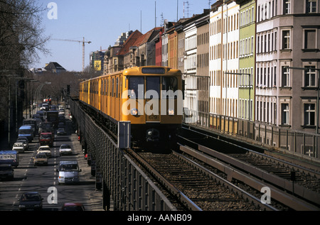 Germany Berlin an underground train U Bahn on an elevated section of track - Stock Photo