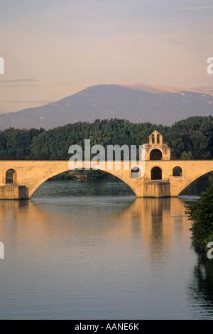 The famous Bridge of Avignon, Avignon, France, Europe at dusk - Stock Photo