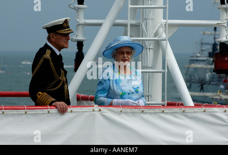 HRH Queen Elizabeth 2 and Duke of Edinburgh reviewing the Fleet - Stock Photo