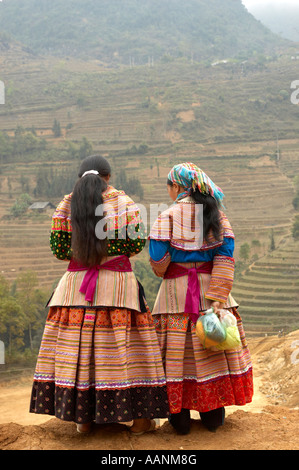 Two Young Women at the weekly Can Cau Market, Northern Vietnam. - Stock Photo
