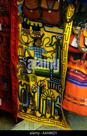 Traditional textiles being sold at the Witches market in La Paz Bolivia. - Stock Photo