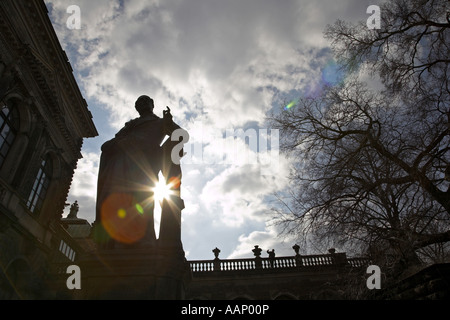 Carl Maria von Weber statue in backlight, Germany, Saxony, Dresden - Stock Photo