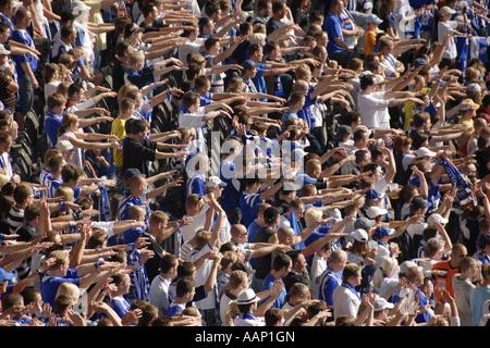 soccer fan of the Herta BSC Berlin in the Olympia stadium, Germany, Berlin - Stock Photo