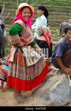 Young Woman from the Flower Hmong hill tribe at Coc Ly market, Sapa area, Northern Vietnam - Stock Photo