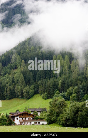Low cloud in Mayrhofen, Austria - Stock Photo