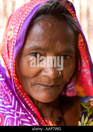Portrait of an elderly Indian lady wearing a sari and a nose stud. - Stock Photo