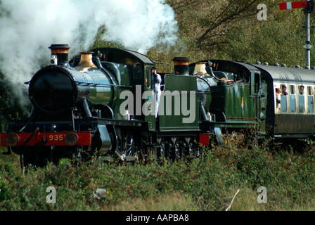 Steam Locomotives Double Heading - Stock Photo