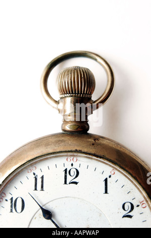 Antique pocket watch closeup on very old pocket watch - Stock Photo