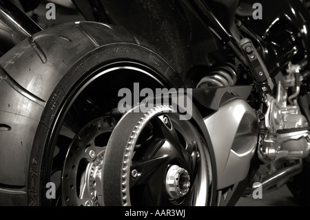 Motorcycle wheel and a gear with belt Motorbike bike - Stock Photo