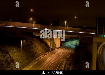 M62 M1 intersection at night Leeds West Yorkshire - Stock Photo