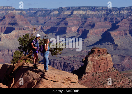 Hikers view 1 8 Billion years of Geology on the KAIBAB TRAIL in GRAND CANYON NATIONAL PARK ARIZONA MR - Stock Photo