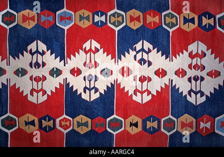 Detail of motifs on an Anatolian woollen tapestry rug Turkey - Stock Photo