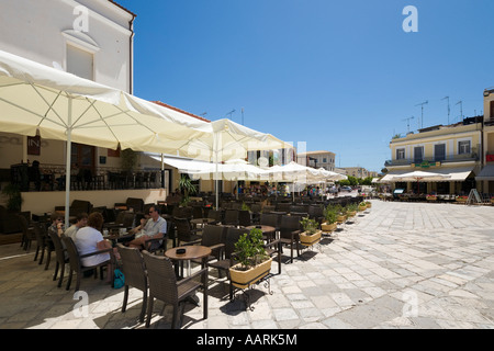 Restaurants on St Marks Square, St Mark's Square (Aghios Markou Sq), Zakynthos Town, Zakynthos, Ionian Islands, - Stock Photo