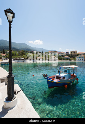 Assos Harbour, Kefalonia, Ionian Islands, Greece - Stock Photo