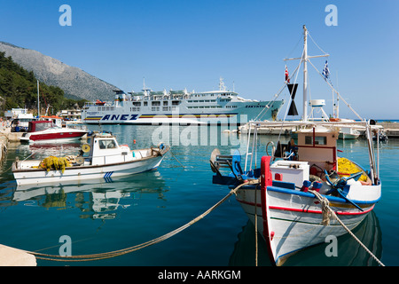 Harbour and Interisland Ferry to Zakynthos, Poros, Kefalonia, Ionian Islands, Greece - Stock Photo