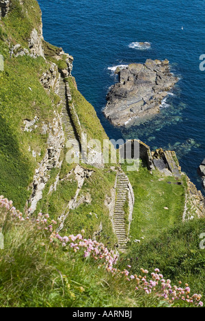 dh North coast 500 WHALIGOE CAITHNESS Steep stone steps to cove harbour carved out of seacliff rock fishing path stairs scotland walk sea