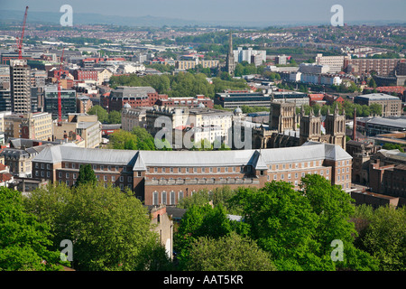 City Hall formerly the Council House 1956 seat of Bristol local government from Cabot Tower with distant St Mary - Stock Photo