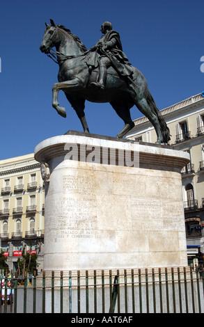 King Carlos third statue Plaza Puerta del Sol Madrid Spain EU Europe - Stock Photo