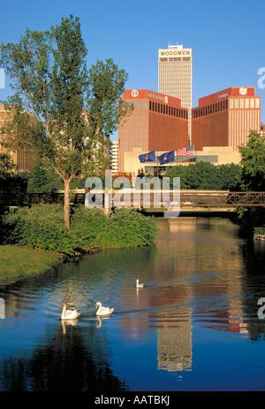 Elk268 1311 Nebraska Omaha downtown skyline from Eugene Leahy Mall - Stock Photo