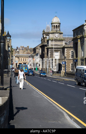 dh  WICK CAITHNESS People walking down Bridge Street town centre buildings road - Stock Photo