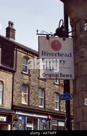 Sign outside pub and micro brewery for Riverhead Brewery Marsden - Stock Photo