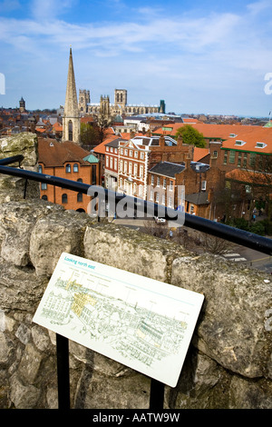 View across York City to the Minster from Cliffords Tower York City Yorkshire - Stock Photo