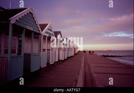 Row of beach huts along the promenade at Southwold, Suffolk, UK - Stock Photo