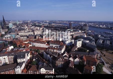 View from Michaeliskirche called Michel Hamburg Germany - Stock Photo