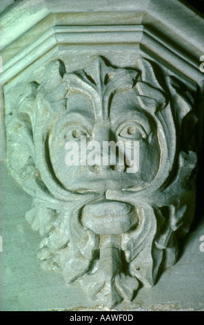 Green man Greenman, St Stephen s Church, Old Radnor, Powys,  Wales HOMER SYKES - Stock Photo