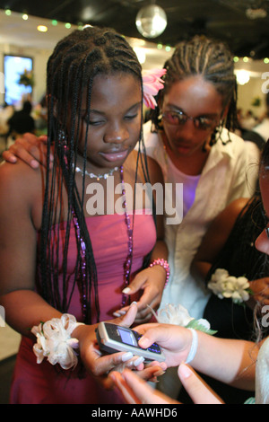 Hialeah Florida Gardens Non Violence Project USA End of Year Awards Ceremony Black students cellular phone - Stock Photo
