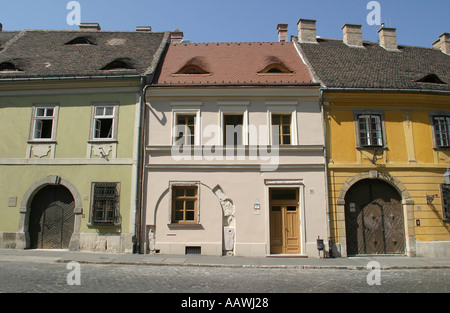 Castle district in Budapest newly restored houses - Stock Photo