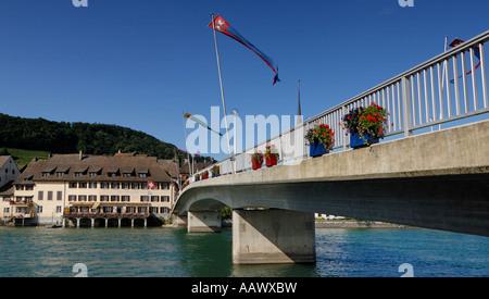 Bridge over the Rhine in Stein am Rhein - Kanton Schaffhausen, Switzerland, Europe. - Stock Photo