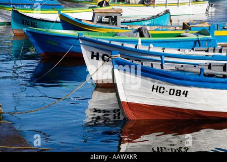 Fishing boats, southern harbour, Town museum Nesebar, Black Sea, Bulgaria - Stock Photo