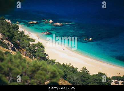 Beach on the Island of Karpathos Dodecanese Islands Greece - Stock Photo