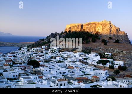 Acropolis and town of Lindos Rhodes Greece - Stock Photo