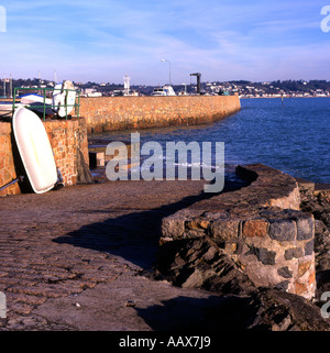 Slipway at Saint Aubin on Jersey in the Channel Islands - Stock Photo