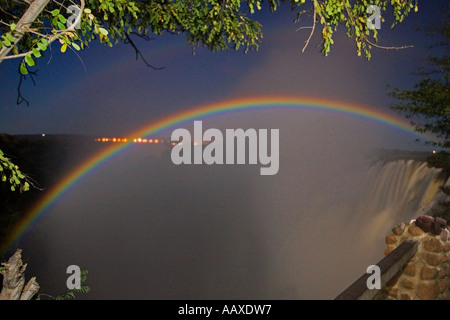 A lunar rainbow at Victoria Falls, Zambia, Africa. - Stock Photo