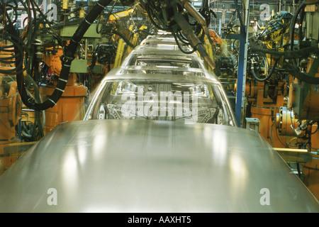 Welding robotics at Volvo's Torslanda Plant near Gothenburg, Sweden - Stock Photo