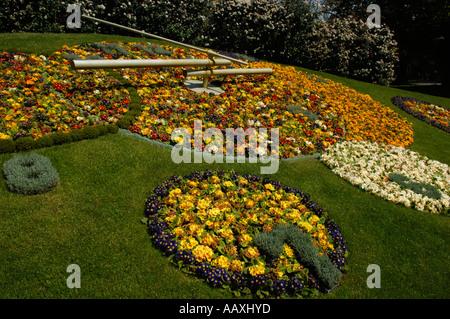 Flower clock jardin anglais english garden geneva for Jardin in english